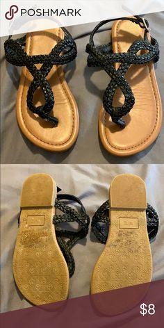 744fd38dfc9eb2 Little girls black sandals with buckle. Black braided sandals with buckle  Lily   Dan Shoes Sandals   Flip Flops