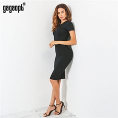 Price 11.19 Gagaopt Summer Dresses Women 95% Cotton Knee-Length Skinny  Office Dress Short f7c1b3bee537