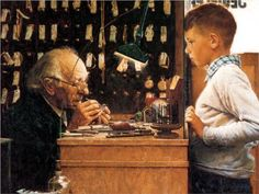 """Norman Rockwell-""""The Watchmaker of Switzerland"""""""