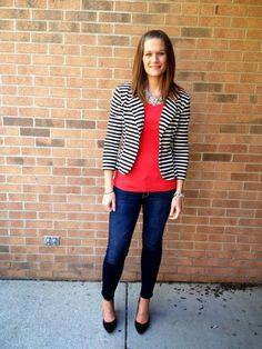 stripesd blazer for fall