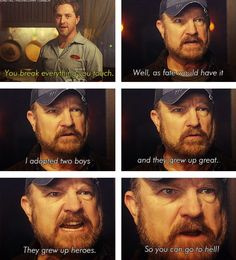 Supernatural 30 day challenge day 13: favorite Bobby scene. I love this one because it was so honest. Bobby often hid stuff with sarcasm and bravado, like Dean does. But this was honest. He did adopt those boys and they did grow up great. Because of him.