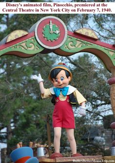 Pinocchio in the Magic Kingdom at Disney World.