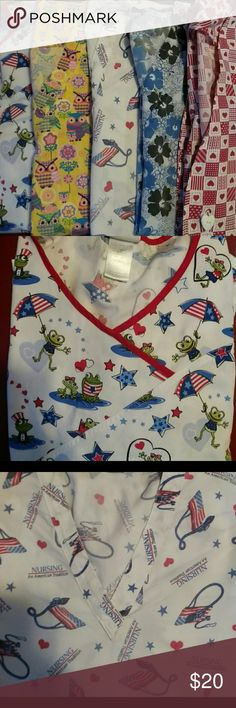 Bundle of XXL Scrub tops -4 + free scrub jacket @tngirl2007 here's your tops!! Four XXL tops. And 1 jacket for free. Not sure on size as it's hand made but it's comparable in size to the others!! My gift to you(: hope it works out!! Scrub tops Tops