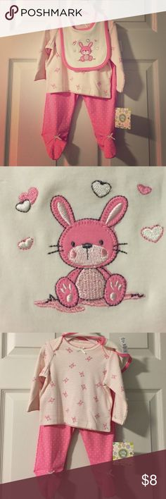 NWT Bunny 3 piece outfit Adorable pink and white bunny outfit with matching bib. NWT. Little Me Matching Sets