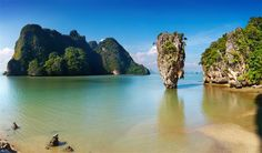 Thailand - Phang Nga Bay lies between Southern Thailand's mainland and Phuket Island. The bay is  characterized by its limestone cliffs and rock formations, as well as mangrove forests and small islands. Among the islands are Koh Tapu, known as James Bond Island for its appearance in a Bond film.