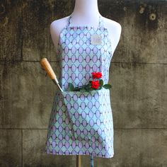 Apron for Kitchen or Garden - For the Love of Pattern - Time Frames - Blue on Etsy, $42.00