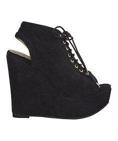Take a look at this Very Volatile Black Pinpoint Wedge on zulily today!