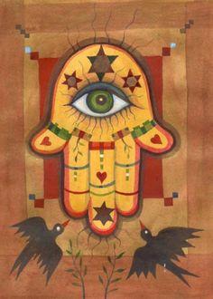Good Luck Hamsa - original gouache painting