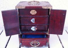 Vintage Oriental Chinese Wood Wooden Jewelry Box by npebaysale