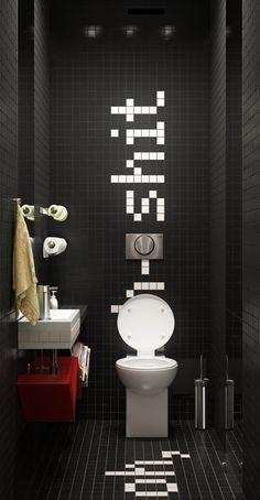 Déco design en noir et blanc pour les WC