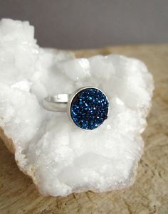 Blue Druzy Ring Drusy Ring Gemstone Ring Druzy by julianneblumlo