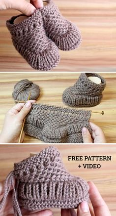 Completed by © Katerina Mushyn This knitting pattern / tutorial is available for free. Beanie Knitting Patterns Free, Baby Booties Free Pattern, Easy Knitting, Knitting Socks, Knit Patterns, Yarn Projects, Knitting Projects, Crochet Projects, Baby Cardigan