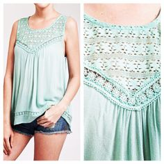 Crinkle tank with daisy tape lace detailing. Cool and comfy for spring and summer www.shopartifactsgallery.com