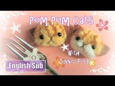 【DIY】 フォークで作る ♡ うさぎの動物ポンポン ~How to make Pom Pom Rabbit with Dinner Fork ~ - YouTube