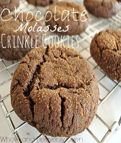 Chocolate Molasses Crinkle Cookies--- From the outside, these might look like regular chocolate cookies, but the inside is soft and chewy from dark molasses and is just filled with chocolate-y molasses goodness. These cookies are the ultimate milk dunker! - At wholeandheavenlyoven.com