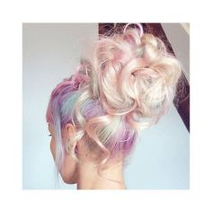 Rainbow hair ❤ liked on Polyvore featuring accessories, hair accessories, braid and pink hair accessories