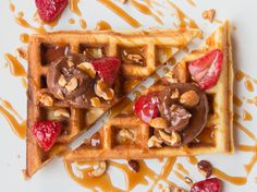 Nutella Waffle with Caramel Sauce Recipe by FlavorCity Bobby