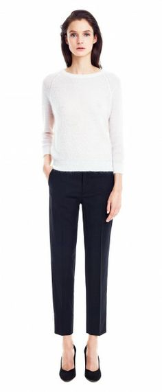 Filippa K LUISA CROPPED COOL WOOL SLACKS & LIGHT MOHAIR PULLOVER. Love these simple lines and materials. Perfect for everyday & work. Casual and relaxed outfit.