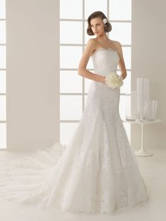 A-line Wedding Dress with Strapless Lace Neckline and Embroidery
