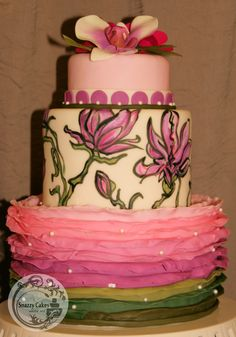 cake with fondant ruffles, hand painted flowers in pink and green
