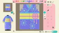 """"""" My kimono pattern I made which is inspired by some patterns I found"""" Animal Crossing Characters, Animal Crossing Villagers, Animal Crossing Qr Codes Clothes, Animal Crossing Game, Sims 4, Pixel Design, Motifs Animal, Pixel Pattern, Kimono Pattern"""