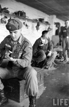 Elvis in a barracks during winter of 1958 while stationed in a compound near the border of Bavaria.