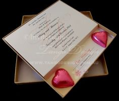 3D Wedding Invitations in a box with novelty gift by www.tangodesign.com.au #unique wedding invitations #unique wedding invites #chocolate wedding invitations