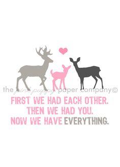 Jetzt haben wir alles 5 x 7 Deer Familie Print von pinkpuppypaperco