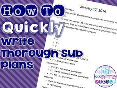 Bright Idea - How to Quickly Write Thorough Sub Plans