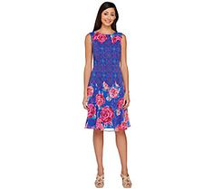 Isaac Mizrahi Live! Mixed Print Sleeveless Dress