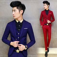 Hot 2017 Korean Tuxedo Men Suit Slim Fit Mens Suits With Pants 3 Piece Navy Wedding Dress Tuxedos For Men,Royal Blue Red,M-XXL,