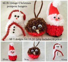 CHRISTMAS POMPOM HANGING SANTA, SNOWMAN AND ROBIN (3) - The Supermums Craft Fair