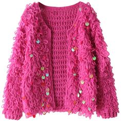 Sequins-detailed Open-front Cardigan ($28) ❤ liked on Polyvore featuring tops, cardigans, outerwear, open front cardigan, pink sequin cardigan, sequin top, pink sequin top and pink cardigan