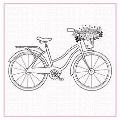 Bicycle  bike  flowers in basket  digital stmp  birthday