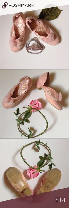 Disney Princess Aurora Shoes Adorable pink Aurora shoes with small heel and flowers on toe. Only worn inside. Youth size 13/1. Disney Shoes Dress Shoes