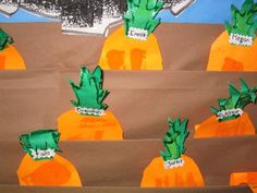 Folded brown paper, layered for bulletin board (Site with lots of ideas) Fruit Crafts, Farm Crafts, Crafts For Kids, Preschool Garden, Preschool Activities, Kindergarten Crafts, Farm Theme, Garden Theme, Olivers Vegetables