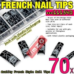 70x Acrylic False Nail Tips French Tips Extensions Animal Print Design #111540 $3.50 , #manicure #nail @one2sell