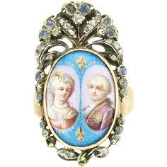 Georgian Enamel Portrait Miniature Rose Diamond Sapphire Silver and 18k Gold Remembrance Ring - Marie Antoinette and Louis XVI