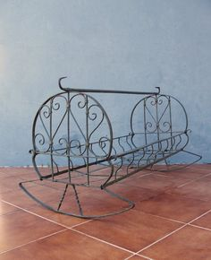 Antique Ornate Cradle Iron wrought Crib Rocking by StarHomeStudio Antique Iron Beds, Wrought Iron Beds, Wrought Iron Decor, Princess Bed Frame, Rock Bed, Vintage Furniture Design, Lawn Furniture, Doll Furniture, Vintage Iron