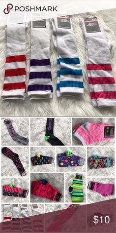 🎄 Purple Stripe Knee Socks 97% Polyester / 3% Spandex. Have a bunch of different patterns. A few have tags detached for photos. Accessories Hosiery & Socks