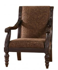 Bradington Traditional Truffle Fabric Accent Chair