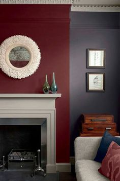 living room with lilac walls and burgundy accent, white trim, apple red, burgundy, dark red, pantone spiced apple, russet red