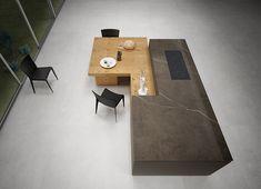Image 3 of 7 from gallery of Slabs - Pietra Grey Küchen Design, Interior Design, Travertine, Dining Room Design, Wall Tiles, Contemporary Design, Tile Floor, Dining Table, Flooring