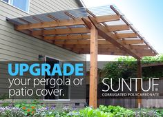 Image: Upgrade Your Pergola or Patio Cover With Suntuf. Image: Upgrade Your Pergola or Patio Cover W Casa Patio, Patio Roof, Pergola Patio, Backyard Patio, Diy Patio, Gazebo, Cheap Pergola, Pergola Carport, Pergola With Roof