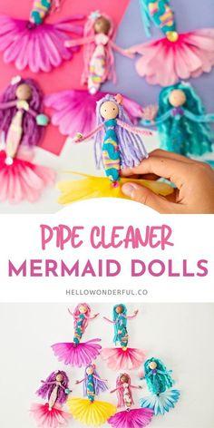 Mermaid Kids, Mermaid Crafts, Mermaid Dolls, Mermaid Names, Summer Crafts For Kids, Art For Kids, Kid Art, Pipe Cleaner Crafts, Pipe Cleaners
