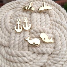 ocean side stud earrings, prep, sterling silver, anchors, whales, dolphin fins