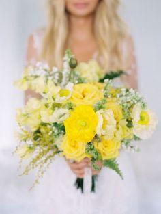 Bouquet de mariée jaune citron - Photo Wendy Laurel