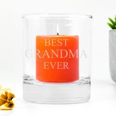 Personalised Birthday Gifts for Grandma Glass Tealight Candle Holders, Glass Votive, Votive Candles, Small Candles, Tea Light Candles, Tea Lights, Personalised Gift Shop, Personalized Birthday Gifts, Birthday Gifts For Grandma