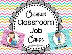Chevron Classroom Job Cards