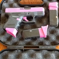 Custom painted pink Glock. Only I want mine to be purple. I like the magazine base being a different colored. But I think I want my slide to stay black and the rest purple.